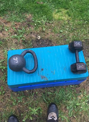 Weight set with kettle weight for Sale in Seattle, WA