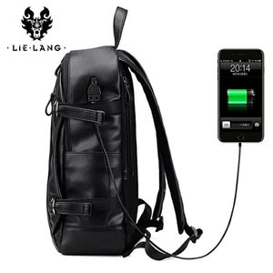 LIELANG Men Backpack External USB Charge Waterproof Backpack Fashion PU Leather Travel Bag Casual School Bag For Teenagers for Sale in Westlake, MD