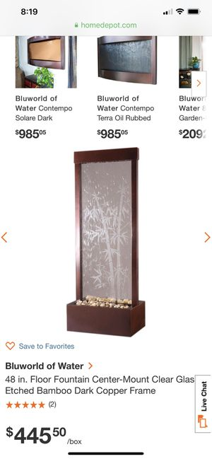 Floor Fountain glass Bamboo for Sale in San Diego, CA