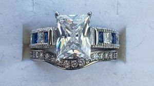 Sterling silver luxury sapphire and emerald cut diamond set for Sale in Baltimore, MD