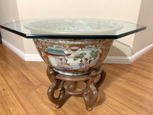 Antique Large Chines Famille Rose Porcelain Fish Bowl, Glass top table for Sale in Portland, OR