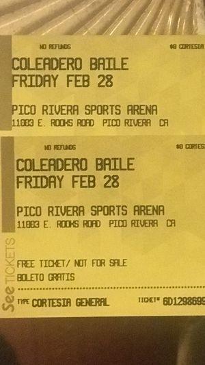 2 tickets para el viernes en pico Rivera sports arena el viernes 28 de febrero 20 cada uno for Sale in Paramount, CA