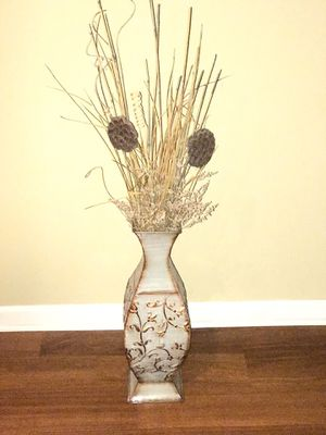 Metal vase with dry flowers for Sale in Bloomington, IL