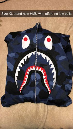 Blue bape camo shark hoodie size xl for Sale in Alexandria, VA