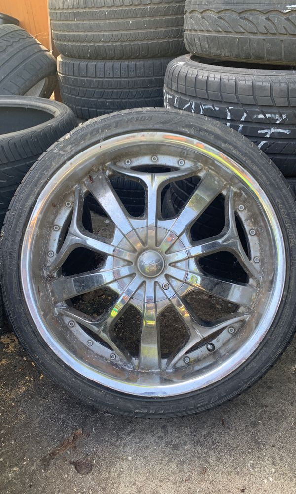 "(3) 20"" Chrome Wheels —RIMS ARE MIS-MATCHED but TIRES HAVE LOTS OF TREAD-LIFE LEFT — PLS LOOK @ PICTURES"