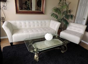 Macys pearl white leather couch with two armless chairs and ottoman for Sale in Everett, MA