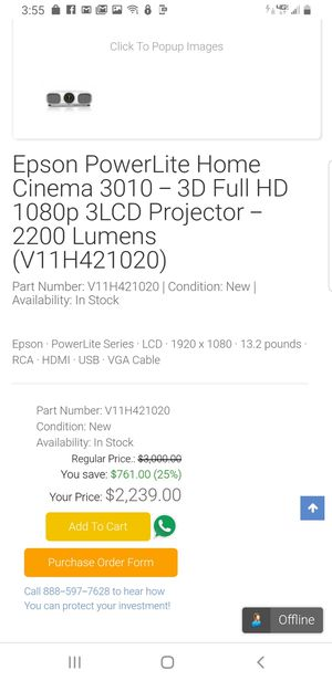 Epson 3d HD projector for Sale in Atascadero, CA