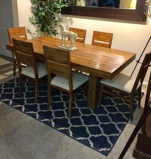 Reclaimed Acacia solid wood farm Dining table with 6 matching chairs for Sale in San Diego, CA