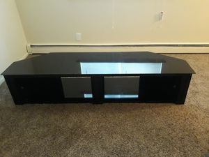 """Whalen 4 Piece 83"""" Black Onyx Glass Table TV Console for Sale in Bristol, PA"""