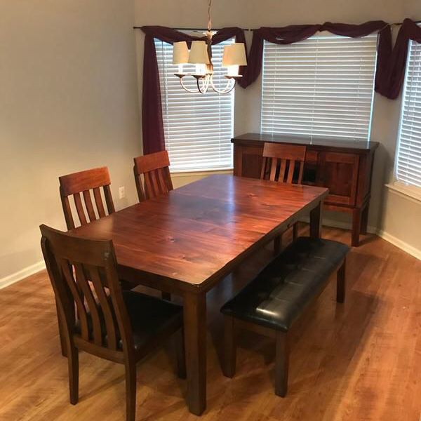 Ralene Dining Table and 4 Chairs and Bench Set