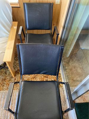 Metal chairs w/wooden handles for Sale in Ashville, NY
