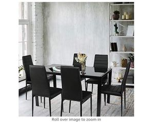BAHOM 7 Piece Kitchen Dining Table Set for 6, Glass Table and PU Leather Chairs Set of 6 for Breakfast, Black for Sale in Rancho Cucamonga, CA