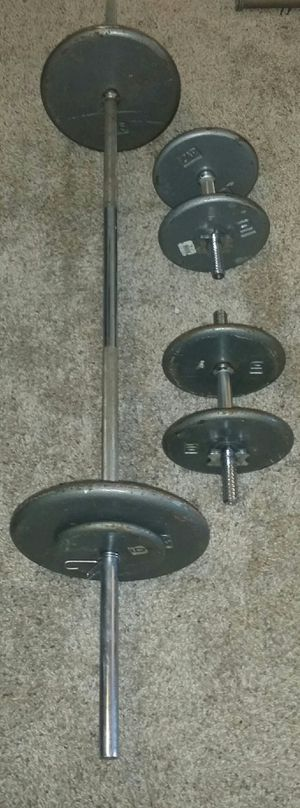 Weights 100lbs. 2x25lbs, 4x10lbs, 2x5lbs. 5 foot straight barbell and 2 chrome dumbbells. 6 weight locks. for Sale in Deerfield Beach, FL