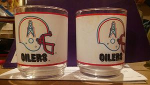 Two NFL OILERS GLASSES for Sale in Houston, TX