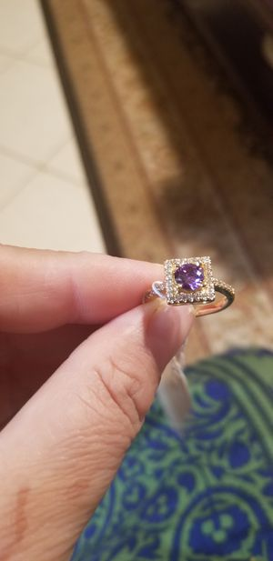 AMEYTHST WITH DAIMOND RING 18K GOLD PLATED for Sale in Fairfax, VA