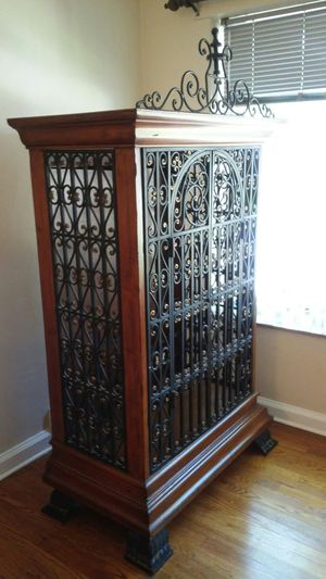Elegant Wine Cabinet Wood Metal Rare Make an Offer! for Sale in St. Louis, MO