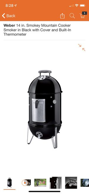 Weber 14 in. Smokey Mountain Cooker Smoker in Black with Cover and Built-In Thermometer for Sale in Santa Monica, CA