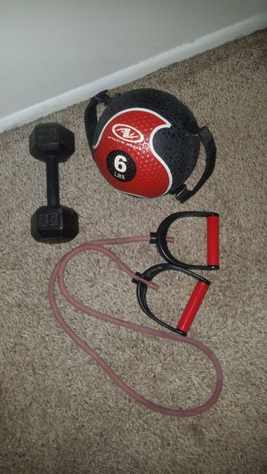 6lb rubber medicine ball with detachable handles and resistance band with handles. 15lb iron Dumbbell. for Sale in Deerfield Beach, FL