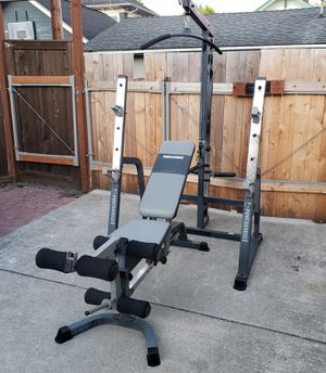 Pending pick up.... Impex Powerhouse Olympic Squat/Bench Rack with high/low pulley and Heavy Duty FID Adjustable Weights Bench for Sale in Everett, WA