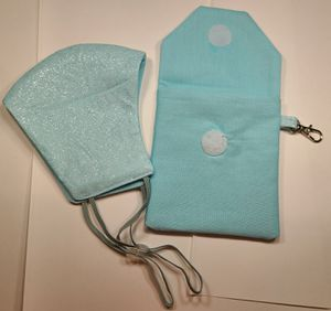 Set of Aqua Sparkling Waverly Inspiration Face Masks and a matching pouch for Sale in Portland, OR
