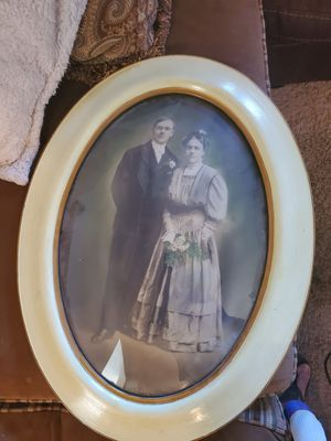 Vintage antique 1800s picture frame and picture with old glass for Sale in Chino Hills, CA