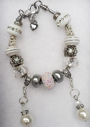 Clear/white charm bracelet 1 for $15 or 2 for $25 for Sale in Baltimore, MD