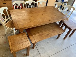 Pottery Barn Farmhouse Dining Table Set + Coffee Table and End Tables for Sale in Yorba Linda, CA