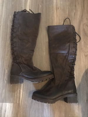 STEVE MADDEN Navaa Brown Leather Tall Knee-High Boot Size 7.5 for Sale in Los Angeles, CA