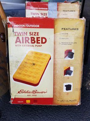 Eddie Bauer Twin Air Mattress with Pump Squash and Blue for Sale in Cinnaminson, NJ