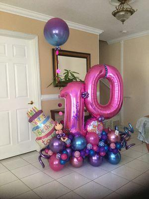 Little girls 10th Birthday Bella 7 feet tall beautiful balloon arrangement $40 (originally $130) for Sale in Hialeah, FL