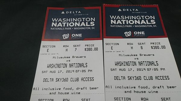 Two Washington Nationals tickets for sale.