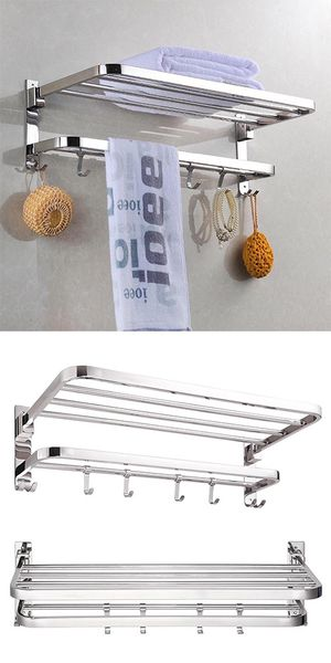 """$25 New Foldable 304 Stainless Steel Towel Rack Bar Wall Mounted Holder Bathroom Shelf, 23x9x7"""" for Sale in Pico Rivera, CA"""