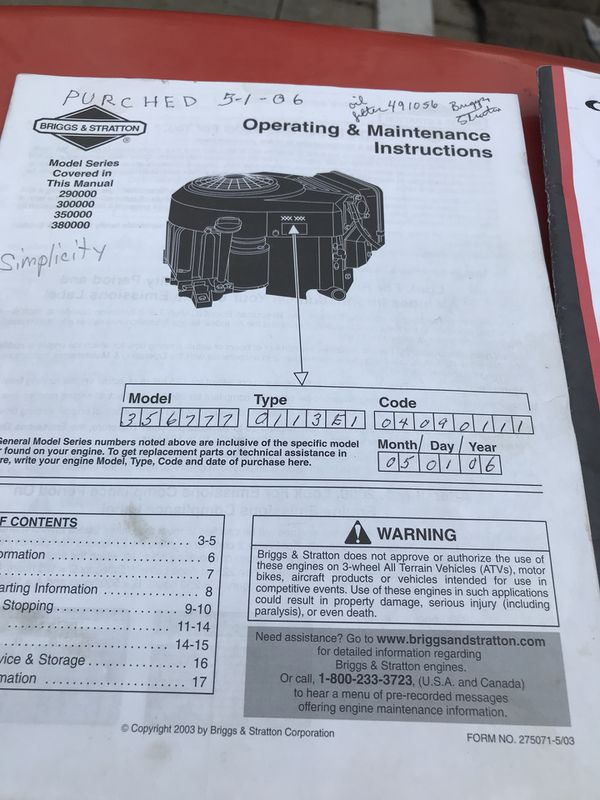Simplicity Conquest Owners Manual