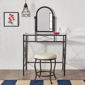 StyleWell Black Metal Vanity Set with Ivory Upholstered Stool (32.05 in W. X 52.76 in H.) for Sale in Plano, TX