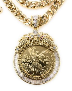 Gold Plated Centenario pendant with chain for Sale in Chicago, IL