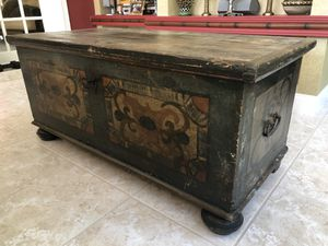 Vintage European antique hand painted wood trunk for Sale in Boca Raton, FL