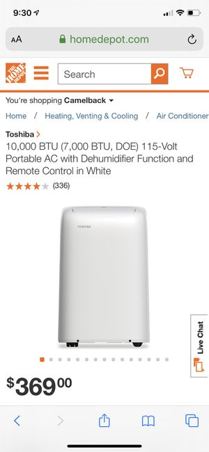 10,000 BTU (7,000 BTU, DOE) 115-Volt Portable AC with Dehumidifier Function and Remote Control in White for Sale in Glendale, AZ