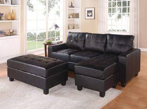 Sectional Sofa w/Ottoman Black Bonded Leather Match / SILLON SECCIONAL NEGRO for Sale in Moreno Valley, CA