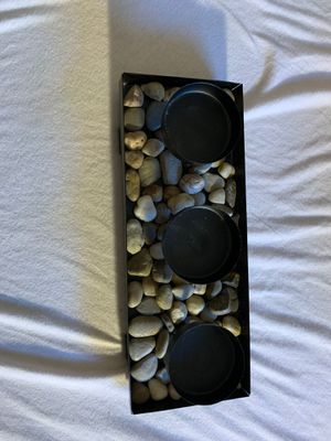 CANDLE HOLDER , with rocks! for Sale in Beverly, MA