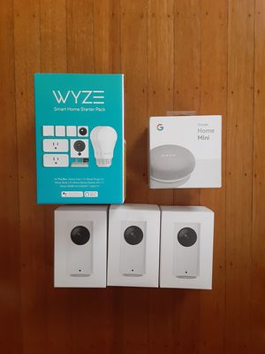 Brand new never opened, wyze starter kit,google home mini speaker and 3 wyze pan cam for Sale in Lynn, MA