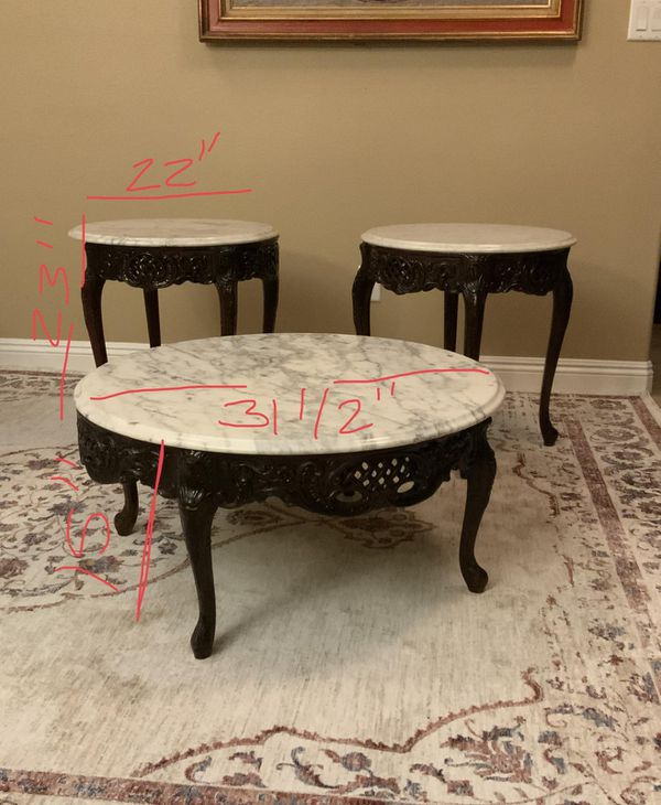 Italian Carved Marble Table Set