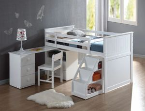 Wyatt White Loft Bed with Desk Ladder Chest Chair $898.00. Super sale! Limited time offer! In stock! Free delivery 🚚 for Sale in Ontario, CA