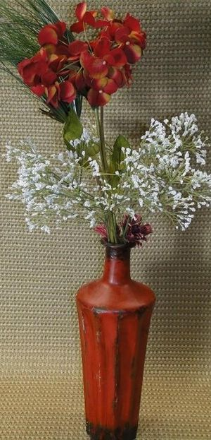 Decorative Metal Red Vase W/Faux Flowers for Sale in Mesquite, TX
