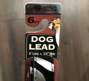 New American Kennel Club (AKC) 6 FT Silver w/Zebra Print Black Leather Dog Lead for Sale in Vacaville, CA