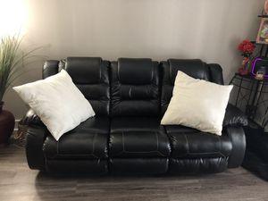 Black Leather dual Recliner 7 Feet across. for Sale in Atlanta, GA