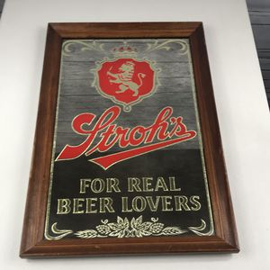 """Strohs for real beer lovers mirror sign rare 21x14"""" for Sale in Los Angeles, CA"""