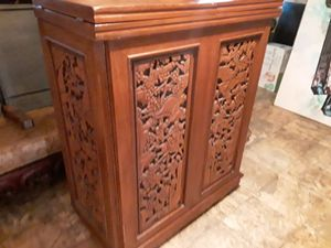Nice rare antique hand carved Asian teak wood bar with marble inlays amazing details this is rare asking 2500 for Sale in Houston, TX