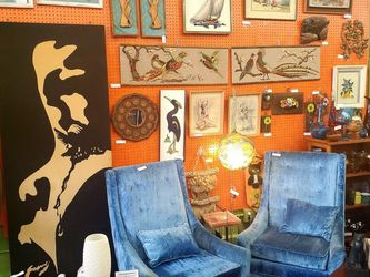 2 Vintage chairs, Mid Century, High Back, Blue Velvet 2 Chairs for Sale in Orange,  CA