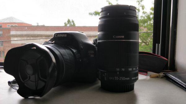 Canon t3i (18-55mm + 55-250mm lenses)