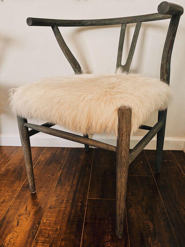 Wishbone Boho Faux Cowhide Chairs